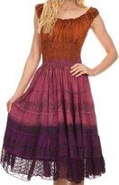 Sakkas 1477 - Balayga Ombre Tie Dye Batik Adjustable Ruffle Tank Top Sleeveless Dress - OS