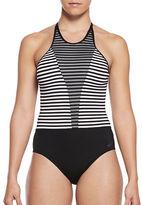 Nike Swim Striped Mesh Insert One-Piece Swimsuit