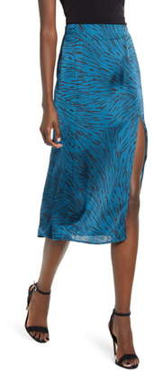 Leith Satin Front Slit Midi Skirt