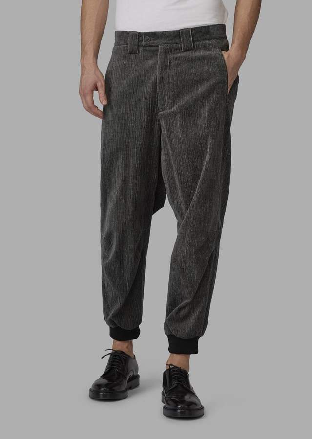 Giorgio Armani Oversize Trousers In Ribbed Corduroy Velvet