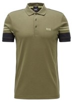 HUGO BOSS - Slim Fit Polo Shirt With Engineered Stripe Sleeves - Dark Green