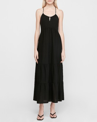 Express Halter Neck Racerback Ribbed Maxi Dress