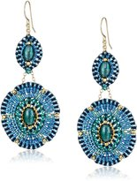 Miguel Ases Blue and Green Beaded Drop Earrings, 2.75""