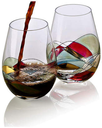 Bezrat Set of 2 Hand Painted Stemless Wine Glasses