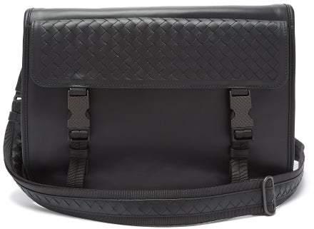 Bottega Veneta Intrecciato Flap Leather Messenger Bag - Mens - Black