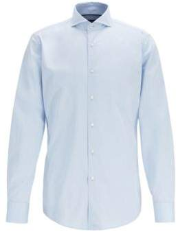 BOSS Slim-fit cotton-twill shirt with contrast piping