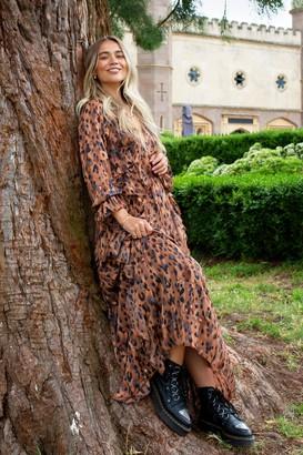 Nasty Gal Womens Purr-fect for It Leopard Ruffle Maxi Dress - Brown