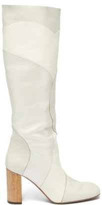 Ssōne Ssone - Tina Knee-high Patchwork-leather Boots - Womens - White
