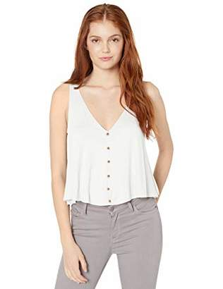 Angie Women's V-Neck Swing Tank with Button Center Front and Open Back