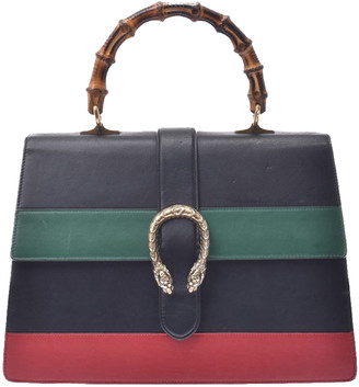 Gucci Black/Green/Red Leather Dionysus Bamboo Top Handle Bag