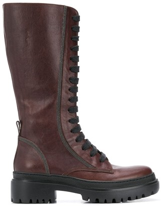Brunello Cucinelli Lace-Up Knee-Length Boots