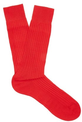 Pantherella Danvers Ribbed-knit Socks - Red