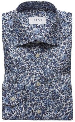 Eton Floral Print Poplin Shirt