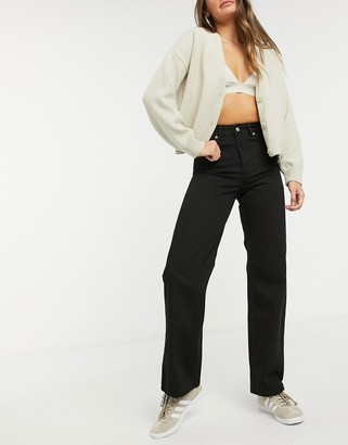 Dr. Denim Echo high waist wide leg jeans in black