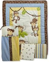 CoCalo 4-Piece Bedding Set Monkey Time, Blue/Brown/Yellow/Green