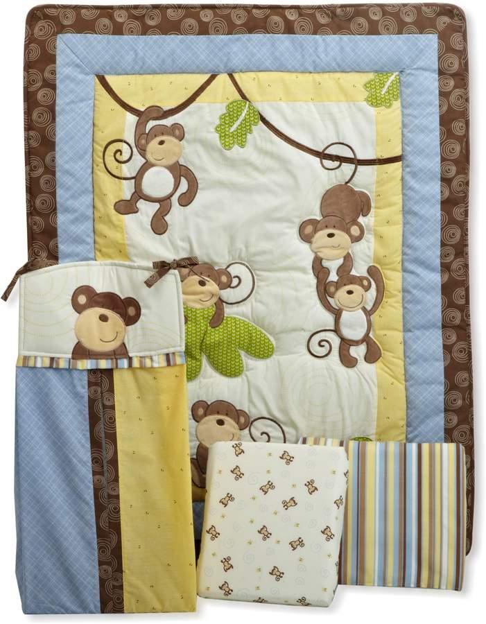 CoCalo 4-Piece Bedding Set Monkey Time, Blue/Brown/Yellow/Green