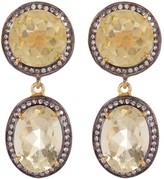 Gold Plated Sterling Silver Lemon Topaz & Simulated Diamond Earrings