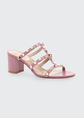 Valentino Rockstud Caged Slide Sandals