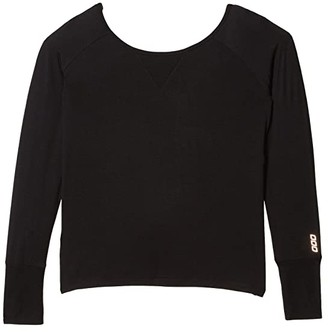 Lorna Jane Post Yoga Twist Long Sleeve Top (Black) Women's Clothing