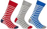 John Lewis Duo Breton Stripe Socks, Pack Of 3, Red/grey/blue