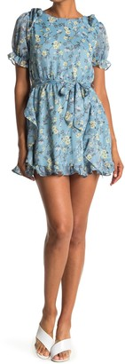 FAVLUX Puff Sleeve Floral Mini Dress