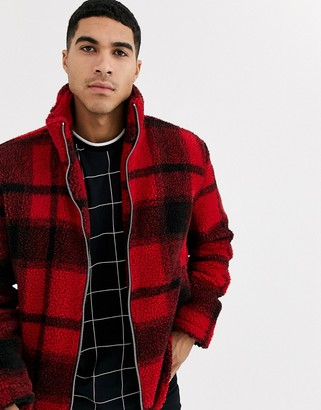 Topman borg jacket in red check