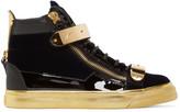 Giuseppe Zanotti Black & Gold Velvet London High-Top Sneakers