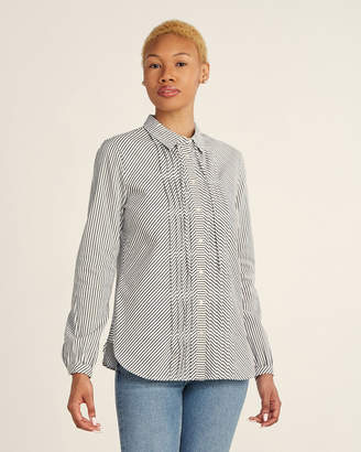 Scotch & Soda Black & White Pleated Front Long Sleeve Shirt