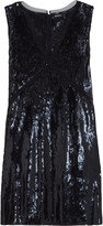 DKNY Mesh-trimmed sequined crepe dress