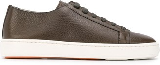 Santoni Textured Embossed Logo Sneakers