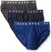 HUGO BOSS BOSS Men's Cotton 3 Pack Mini Brief, Black/Grey/Red, Medium