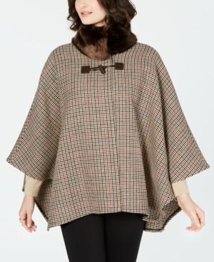 Jones New York Faux-Fur-Collar Plaid Cape Coat