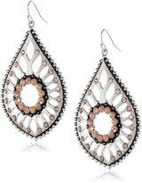 Jessica Simpson Large Cab Light Peach and Light Rhodium Drop Earrings
