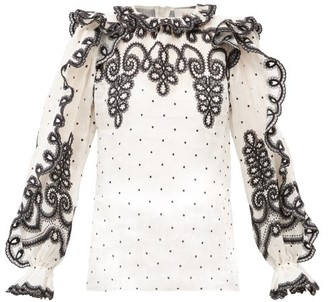 Zimmermann Lovestruck Embroidered Ruffled Linen-blend Blouse - White Black