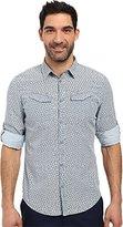 Calvin Klein Jeans Men's Chopstick Print Roll Tab Long Sleeve Button Down Shirt
