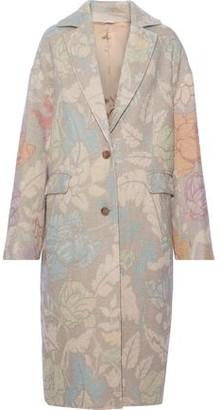 Acne Studios Floral-print Brushed Jute-blend Coat