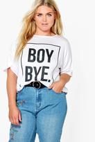 boohoo Plus Annabell 'Boy Bye' Slogan Tee white