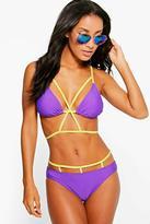 Boohoo Leon Neon Harness Cross Front Triangle Bikini