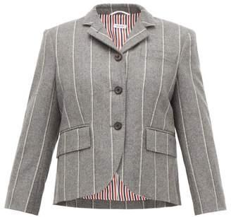 Thom Browne Chalk-striped Wool-twill Single-breasted Blazer - Womens - Grey