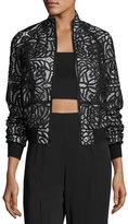 A.L.C. Boxy Paneled Lace Jacket, Black
