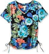 Caribbean Joe Women's Multi Color Printed Short Sleeve V Neck Ruched Tee Shirt, Black