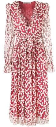 Philosophy di Lorenzo Serafini Sheer Sleeves Floral Embroidered Dress