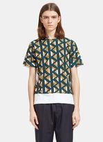 Marni Men's Geometric Print Crew Neck T-shirt In White