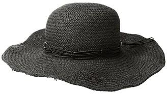 San Diego Hat Company PBL3085OS Woven Paper Floppy w/ Macrame Trim (Black) Caps