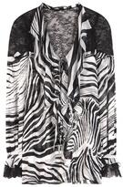 Roberto Cavalli Printed Ruffled Silk Blouse