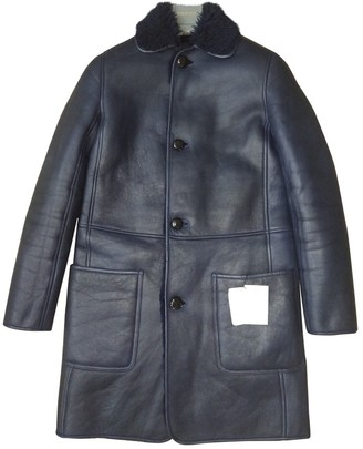 Celine Navy Shearling Coat for Women