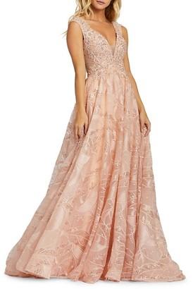 Mac Duggal Plunging Neckline Sequin-Embellished A-Line Gown