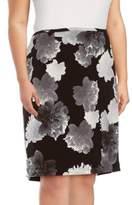 Calvin Klein Floral-Print Textured Skirt