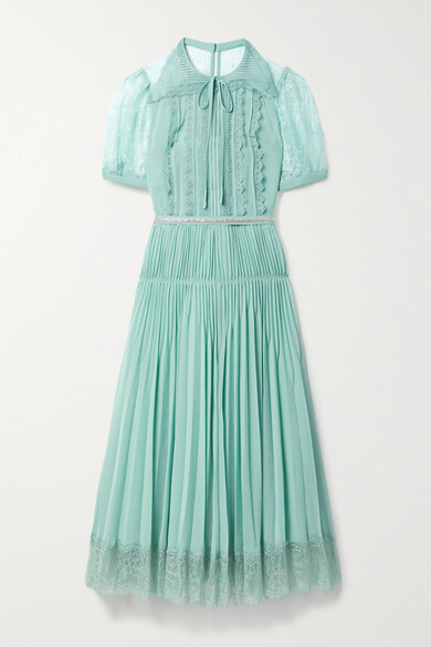 Thumbnail for your product : Self-Portrait Crystal-embellished Pleated Chiffon And Lace Dress - Turquoise