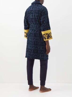 Versace I Love Baroque Logo-jacquard Cotton Bathrobe - Navy